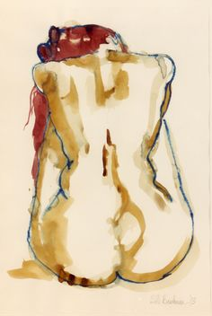 Figure drawing - Attitude 95 - Acrylic Ink and water-soluble crayon