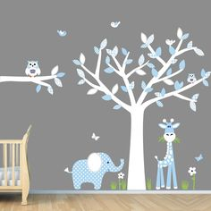 Amazon.com: Baby Boy Room Jungle Wall Decals, Boy Room Wall Decals, White Tree Decal (Baby Blue): Home & Kitchen