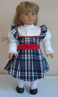 "PLAID HOLIDAY DRESS + HAIR BOW made for 18"" American Girl NELLIE Doll Clothes"