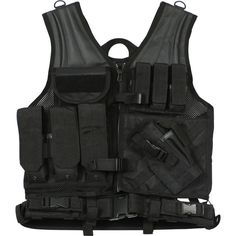 Black MOLLE Compatible Cross Draw Tactical Vest ($81) ❤ liked on Polyvore featuring outerwear, vests and vest waistcoat