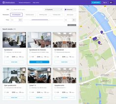 Listing page design for a website which provides workspace booking services. Hope you like :) Wireframe Design, Responsive Web Design, Ui Web, Ui Ux Design, Real Estate Book, Ui Patterns, Mobile App Design, Ui Inspiration, Map Design