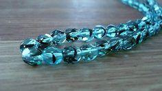 Czech Glass Faceted Round Aqua Tortoise 6mm Beads