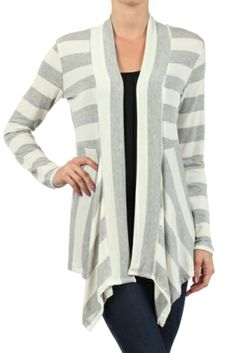 This Gray & White Stripe Open Cardigan is perfect! Open Cardigan, Free Clothes, Fashion Boutique, Stripes, My Style, Grey, Sweaters, Shopping, Fun