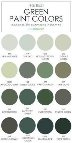 A collection of the best green paint colors from all brands and in all shades and tones! Also includes real-life examples of each of the colors in a house to help you visualize the true color!