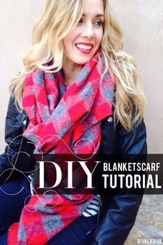 The best DIY projects & DIY ideas and tutorials: sewing, paper craft, DIY. DIY Women's Clothing : DIY Blanket Scarf Tutorial: she also gives examples of how different cuts/sizes look -Read Diy Blanket Scarf, Diy Scarf, Diy Clothing, Sewing Clothes, Sewing Hacks, Sewing Tutorials, Sewing Crafts, Fabric Crafts, Diy Crafts