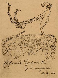 Ex Libris: For Elfriede Grimith, by Robert Budzinski. Etching, 1916