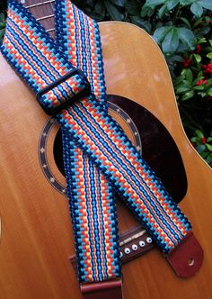 Handwoven Guitar Strap Vibrant Colours of Navy Blue Teal Handmade Leather Guitar Ends