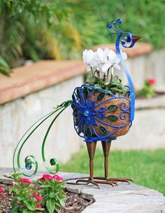 Accented with elegant glass beads, this metal peacock planter is perfectly suited to hold a four-inch pot. Dream Garden, Garden Art, Garden Design, Garden Birds, Welding Projects, Garden Projects, Bloom Where Youre Planted, Garden Stand, House Plants Decor