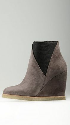 Taupe suede wedges ankle boots