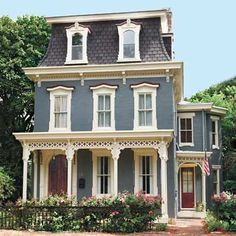 Second Empire house. This house looks whimsical Exterior House Colors, Exterior Paint, Stucco Exterior, Empire House, Scary Houses, Mansard Roof, Victorian Architecture, Victorian Homes Exterior, Victorian Buildings