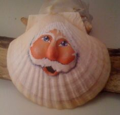 Christmas at the beach sculpted Santa on scallop by mypaintinplace, $10.95