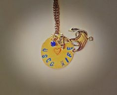 USCG Coast Guard Wife Hand Stamped Charm Necklace on Etsy