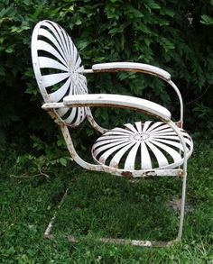 Sunburst/Pin Wheel Rare Iron Garden Chair Circa 1860 from pitkin on Ruby Lane