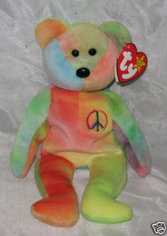 PEACE the Tie-Dye Bear - Ty Beanie Baby - PVC pellets Peace Beanie Baby, Beanie Babies, Ty Beanie, Childhood Memories, Dinosaur Stuffed Animal, Tie Dye, Kid, Bear, Times