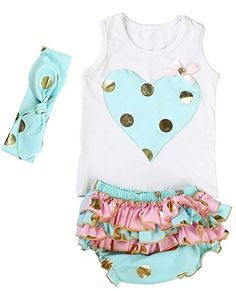 7445f4837b7b Messy Code Baby Girls Clothes Gold Dot Outfits Boutique Toddlers Shirts  Set. More colors available