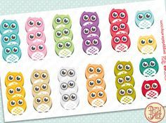 Owls Checklists Planner Stickers Animals by PeggyDalle on Etsy