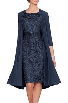 APXPF Women's Tea Length Mother Of The Bride Dresses Two Pieces With Jacket Navy US18 at Amazon Women's Clothing store: