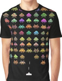 Space Invaders Aliens Arcade Game Kids T Shirt Boys Girls Baby Youth Toddler Top