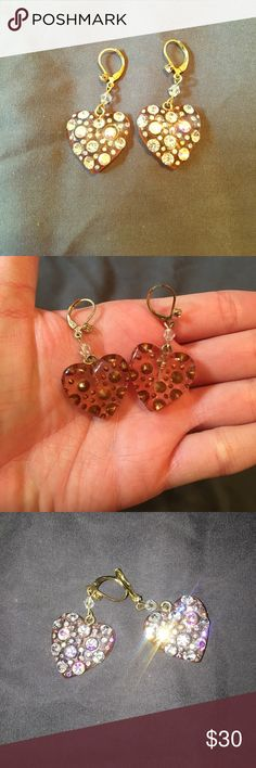Betsey Johnson iridescent heart dangle earrings This pink heart earrings with iridescent and cubic zirconia stones are the perfect way to add a little love to your outfit. Betsey Johnson Jewelry Earrings