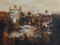 AQ Arif Mughal Building Medium: Oil on Canvas Size: 36 x 48 Canvas Size, Oil On Canvas, Historical Art, Land Scape, Landscape Paintings, Fairy Tales, Buildings, Art Gallery, Fantasy