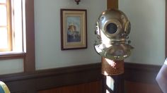 Signs of Columbia Harbour House's nautical theme can be seen everywhere in the dining room! This diving helmet is one of Disney guests' favorite items in the restaurant. Magic Kingdom Quick Service, Magic Kingdom Restaurants, Diving Helmet, Disney Magic Kingdom, Disney Dining, Nautical Theme, Columbia, Dining Room, Things To Come
