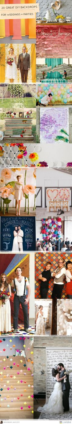 20 Great DIY Wedding Backdrop Ideas | So, I've thought about having a photobooth & having a family member take the pictures.  I LOVE the written words background! Curtain rod, white fabric, and a fabric Parker pen. Super cheap and easy. ❤