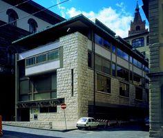 1949-50 Giovanni Michelucci,  Borsa Merci, Pistoia. 后续扩建(1957-65)仍由Michelucci负责,业主为Pistoia银行。