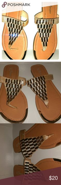 Forever T sandals / flats gold with crystals *BRAND NEW* Gorgeous super chic sandals. Get ready to turn heads with these gorgeous sandals. Intricate crystals detail and beautiful gold metal hardware detail at the front border. Forever  Shoes Sandals