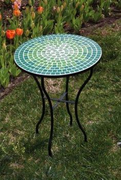 (CLICK IMAGE TWICE FOR UPDATED INFO AND PRICING) 21.5 Blue and Green Tile Mosaic Outdoor Round Patio Garden Side Table  - See More Patio Side Tables at http://www.zbuys.com/level.php?node=3913=patio-side-tables