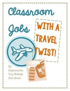 Have a travel theme in your classroom? Let your students help you travel in style with a classroom job chart that centers around jobs on an airplane! Give your students lots of classroom responsibility to help you focus on the important things. There are over 15 different jobs!