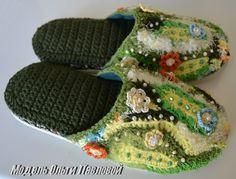 freeform crochet slippers