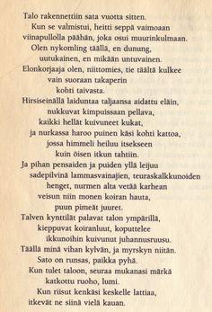 Sirkka Turkan taloaiheinen runo Voiman ääni-kirjasta Tie, Personalized Items, Cravat Tie, Ties