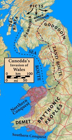Cunedda or Cunedag Wledig (the Imperator) was a northern British chieftain, a su. - Cunedda or Cunedag Wledig (the Imperator) was a northern British chieftain, a sub-King of Gododdin - History Of Wales, Uk History, British History, World History, Ancient History, European History, Roman Britain, Celtic Culture, Family Roots