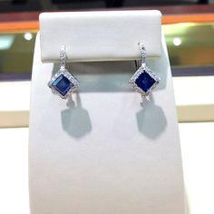 White gold blue sapphire earrings lined in diamonds #jewelry #earrings #sapphire