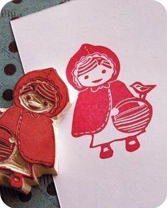 li'l red hand carved stamp