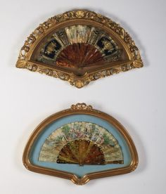 19th century hand painted paper fans with tortoiseshell, mounted in gilt shadowbox frames.