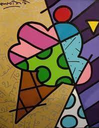 Romero Britto~Art Hermoso helado con retacitos de telas...fácil para su realización!!