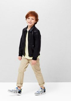 MANGO KIDS, spring-summer 2016. Leather jacket, kids leather jacket, kids fashion, boys clothes, cazadora cuero, cazadora piel, niños, moda infantil, moda niños.
