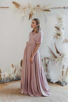 Long Dress Taupe — We Are Flowergirls Bridesmaid Outfit, Bridesmaids, Ibiza Wedding, Convertible Dress, Long Jumpsuits, Jumpsuit Dress, Slow Fashion, Drapery Wedding, Designer Dresses