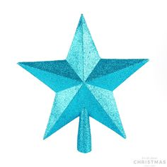 Decorative shatterproof Christmas topper in the shape of a star, 20cm. The topper is teal blue with glitter. Made of unbreakable plastic. Can be perfectly combined with all our other glitter ornaments.