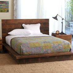 love the distressed look of the wood on the bed frame paired with the freshness of the white linens. in comparison the white, worn and soft flannel green sheets would give it a softer and more inviting look.