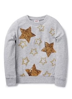 French Terry with rib trims on neckline, cuffs and hem. Features glitter print on front with embroidered sequin stars. Available in Cloud. Toddler Girl Outfits, Kids Outfits, Kids Prints, My Baby Girl, Kids Wear, Shirts For Girls, Clothing Patterns, Baby Dress, Girl Fashion