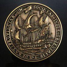 Antique Gold VOC Geocoin - Geocaching Dutch Ship 3D | on Ebay