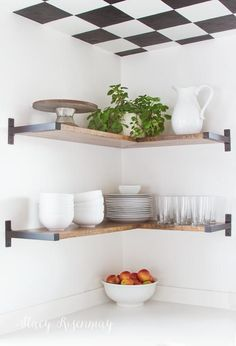 Open shelves (and a checkered ceiling!)