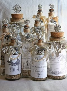 Pretty Vintage Bottles | Vintage Adorned Decorative Bottles