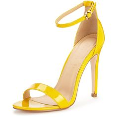 Shoe Box Isabella Ankle Strap Minimal Heeled Sandal (494.525 IDR) ❤ liked on Polyvore featuring shoes, sandals, strap heel sandals, strappy sandals, yellow shoes, summer shoes and ankle wrap shoes