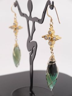 <b>Cross My Heart Again (7).jpg</b> - Green Amethyst in 22k gold vermeil %26 lab diamond.