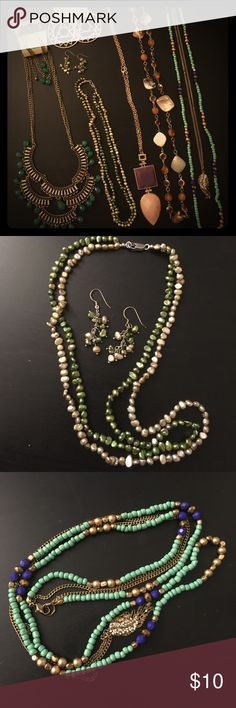 Assorted Costume Jewelry and Pearl Set Various new and unworn costume jewelry. Pearl necklace and earring set on 925 silver posts. Jewelry Necklaces