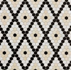 Pretty hexagon tile pattern, maybe for Iris' bathroom, next to her yellow bedroom. Diamond Cream Polished Mosaic | Artistic Tile