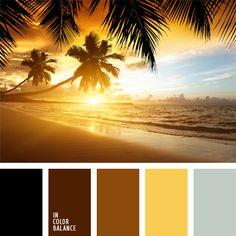 amarillo soleado, amarillo vivo, color arena, color arena de Goa, color azul celeste, color celeste grisáceo, color ocre, colores contrastantes, colores de la salida del sol, elección del color, marrón oscuro, marrón y amarillo, marrón y negro, tonos marrones.